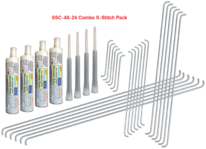 S-Stitch four-size Combo Pack for Aquabond's S-Stitch concrete crack repair staple system