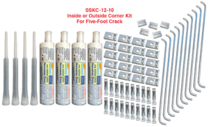 Inside or outside corner crack repair kit for concrete, shotcrete org unite swimming pools