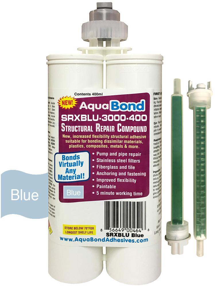 AquaBond's Super strong blue structural repair adhesive. Sets in just minutes.